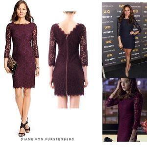 Burgundy lace dress by Diane von Furstenberg Sz 6
